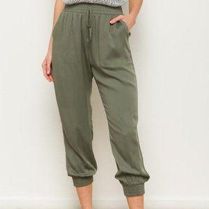 Olive Elastic Waist Jogger Pants